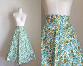 vintage 1940s skirt - GOLDEN TULIPS floral cotton skirt / S