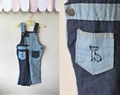 vintage toddler's overalls - BIRDS & a KITTY denim overalls / 3T