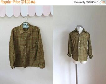 40% OFF back2school SALE vintage boy's plaid shirt - MUSTARD & Ketchup button down / 9/10yr