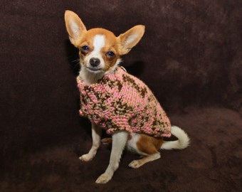 Harness Sweater for small breed dog ( approx 2 to 5 lbs) brown and pink