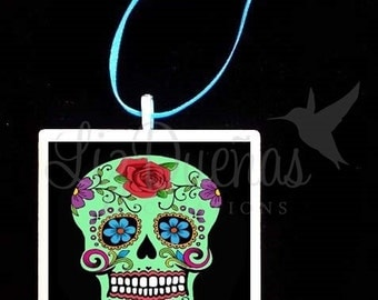 2x2 Ceramic Tile Ornament - Dia de Los Muertos-Day of the Dead Sugar Skull (SSO8) Ready to Ship