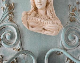 Art Nouveau Victorian Baroque Brass wood Couple figurine decoupage candelabra wall sconce pair