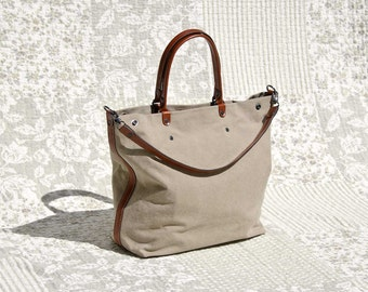 padbag TOTE for modern ladies - - KHAKI canvas and LIGHTBROWN leather