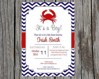 Nautical Baby Shower Invitation, baby boy nautical crab baby shower, DIY, printable