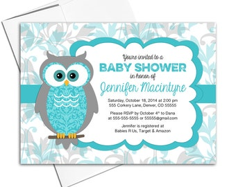 gender neutral baby shower invites owl invitations turquoise and gray printable or printed