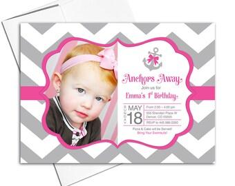 Nautical birthday party invitations for girl | baby girl 1st birthday invites | gray and hot pink chevron birthday invitation - WLP00306