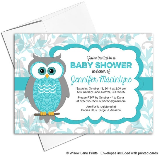 gender neutral baby shower invites owl invitations turquoise and