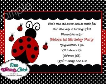 Ladybug Birthday Party Invitation - Printable or Printed - Ladybug Party Supplies, Party Decorations, Birthday Shirt
