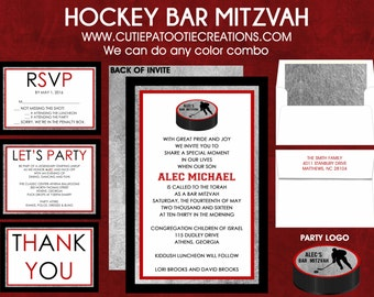 Ice Hockey Bar Mitzvah Invitation - Black Red Silver - RSVP Card - Thank You Note - Information Card - Envelope Addressing