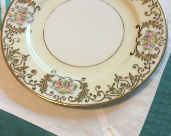 Vintage Salad Plate Pink Blue Floral Gold Scroll Meito China Made in Japan #3955