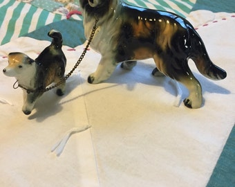 Vintage Chained Collie and Puppy Made in Japan #3736