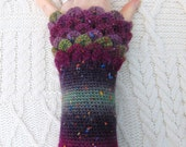 Purple Crochet Wristwarmers, Purple Wrist Warmers, Crocodile Stitch, Dragon Scale Crochet Wrist Warmers, Wrist Cuffs Handmade in Ireland