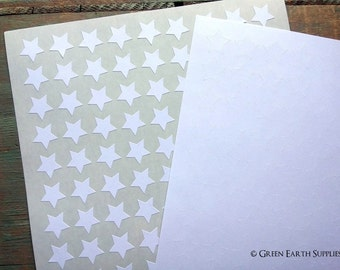 """CLEARANCE: 540 Recycled White Star Stickers, 0.75"""" (19mm), 3/4"""" mini star eco-friendly labels, blank planner stickers (5 sheets)"""