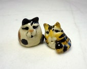 Kitten Miniature Figurines - Terrarium Cat Figurines - Pottery Cats - Ceramic Figurines - Brown Tabby Cat - Calico Cat - set of 2