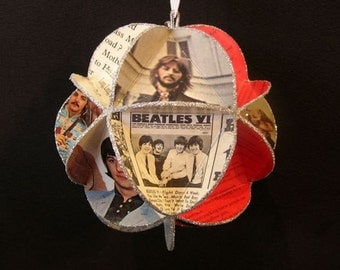Beatles Album Cover Ornament Made Of Record Jackets Lennon McCartney Starr Harrison