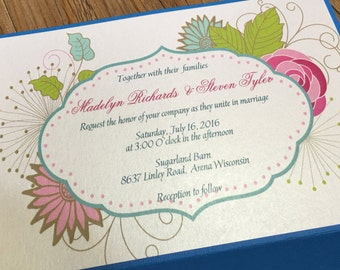 Tropical Wedding Invitation - Pocket Wedding Invitation - Peony  Wedding Invitation - Floral Pocket Invitation