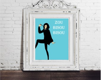 Mad Men Art print,  DIGITAL DOWNLOAD, 1960s style, zou bisou black and white quote vintage fashion don draper 1960 60s tv show television