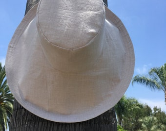 Natural Linen Sun Hat Wedding Hat Wide Brimmed Sun Hat Elegant Sunhat Large Brim by Freckles California