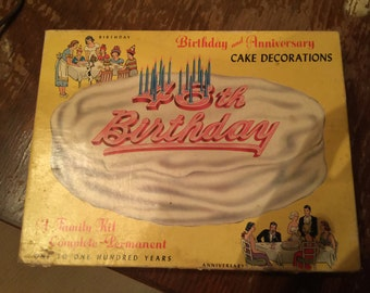 Fun 1950s Happy Birthday Cake Decorating Kit! Mid-Century party decor, anniversary, candles