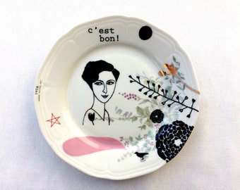 Antique plate with lady Mimi #1617