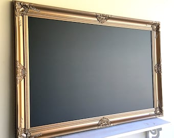 ANTIQUE GOLD Framed Chalkboard Wedding Seating Chart Wedding Seating Card Holder Home Office Decor Gold and Black Decor Vintage MAGNETIC
