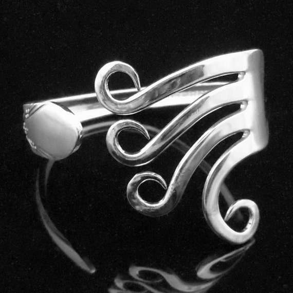 Unique Recycled Silver Fork Bracelet in Original Curly Design Number One