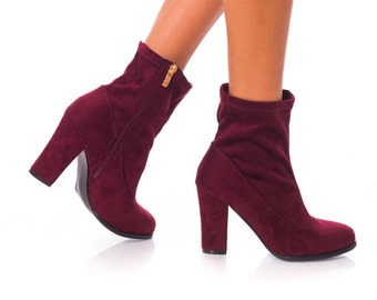 SALE last pairs Ankle Boots Wine Red Leather Urban burgundy boots
