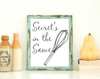 Secret's in the sauce - saying/quote from Fried Green Tomatoes. Perfect print for your kitchen!