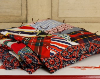 Antique Crazy Quilt, Vintage Textiles, Vintage Quilt, Multi-colored Boho Coverlet, Vintage Colorful Bedspread, Home & Living, Home Decor