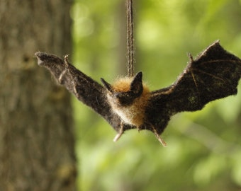 Needle felted Brown Bat, Made to order, life size, Halloween animal