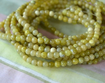 100pcs 4mm Olive New Jade Natural Gemstone Beads 16 Inches Strand