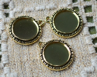 6pcs Cabochon Cameo Setting Frame 19mm Round Fit 14mm Antiqued Gold Pewter