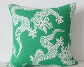 Lily Pulitzer chinese dragon green designer decorative pillow cover