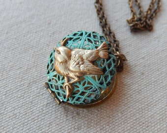 Bird Locket, Patina Jewelry, Filagree Locket, Locket Necklace, Gift for Her