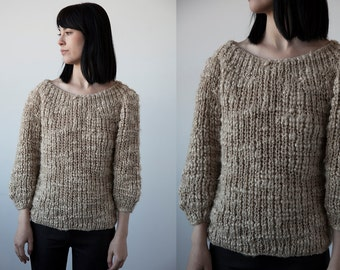 Vintage Hand Knit Textured Oatmeal Beige Wool Sweater S-M