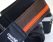 Brown and Orange Racer X camera strap - Upcycled guitar straps - eco vegan friendly