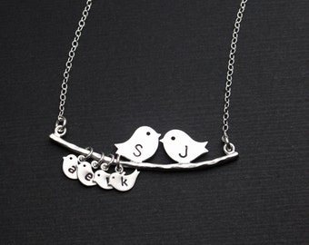 Silver Lovebirds Necklace, Gift for Mom, Mother Bird Necklace, Personalized Lovebirds Necklace, Birthday Gift, Monogramed Necklace