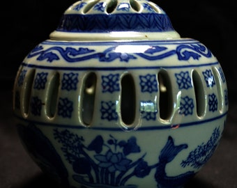 Bue and White Ceramic Candle Holder or Incense Burner With Carp MOtif
