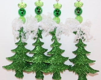 Glittered Christmas Trees Tablecloth Weights Set of 4