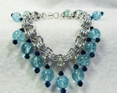 WOW Blue Bead Bracelet or Anklet- Chain maille