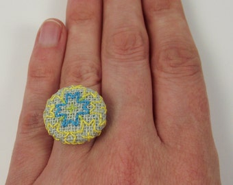 Adjustable Button Ring: Yellow Blue Embroidered