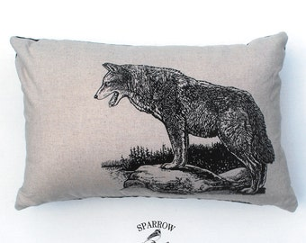 Rustic Home Decor, For the Cottage, Original Wolf Print, Lumbar Pillow with Wolf, Country Cottage Cushion