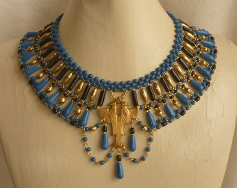 Blue, Black and Gold Double Falcon Egyptian Style Broad Collar
