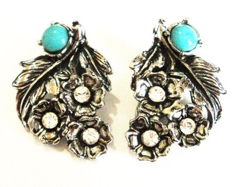 Pair Turquoise Diamante Dress Clips... c.1960s Silver Flowers