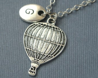 Hot Air Balloon Necklace, Air Balloon Charm, Balloon Pendant, Initial Necklace, Initial Hand Stamped, Personalized,