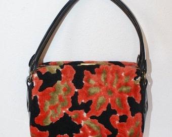 50% OFF SALE Vintage 1960s Mod Tapestry Purse . Orange Black Floral Box Purse. Super Cute Mini Suitcase Style Handbag . Velour Gotta Have Ba