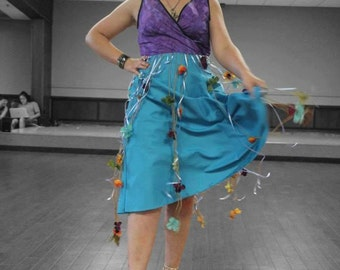 size 12: Handmade One-of-a-Kind Floral Surplice Dress