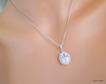 Crystal Bridal Necklace Set, Crystal Bridal Earrings, Crystal Wedding Necklace, Crystal Pendant set, Bridal Jewelry, Bridal Set, ESTER