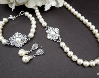 Pearl Necklace set Bridal jewelry set Pearl Bridal Necklace and earrings set Pearl Necklace Bridal swarovski Necklace Pearl Bracelet CLAUDE
