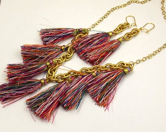 Tassel Bib Statement Necklace Earring Set Multicolor